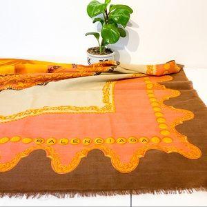 Rare BALENCIAGA Vtg 70s Silk & Wool Shawl Scarf